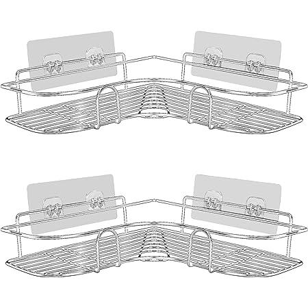 PNNP Shower Caddy Shelf, Bathroom Shelves No drilling, Corner Shower Shelf, Bathroom Storage & Organisation with Rustproof Stainless Steel Adhesive Sticker for Kitchen & Bathroom, 2 Pack Silver