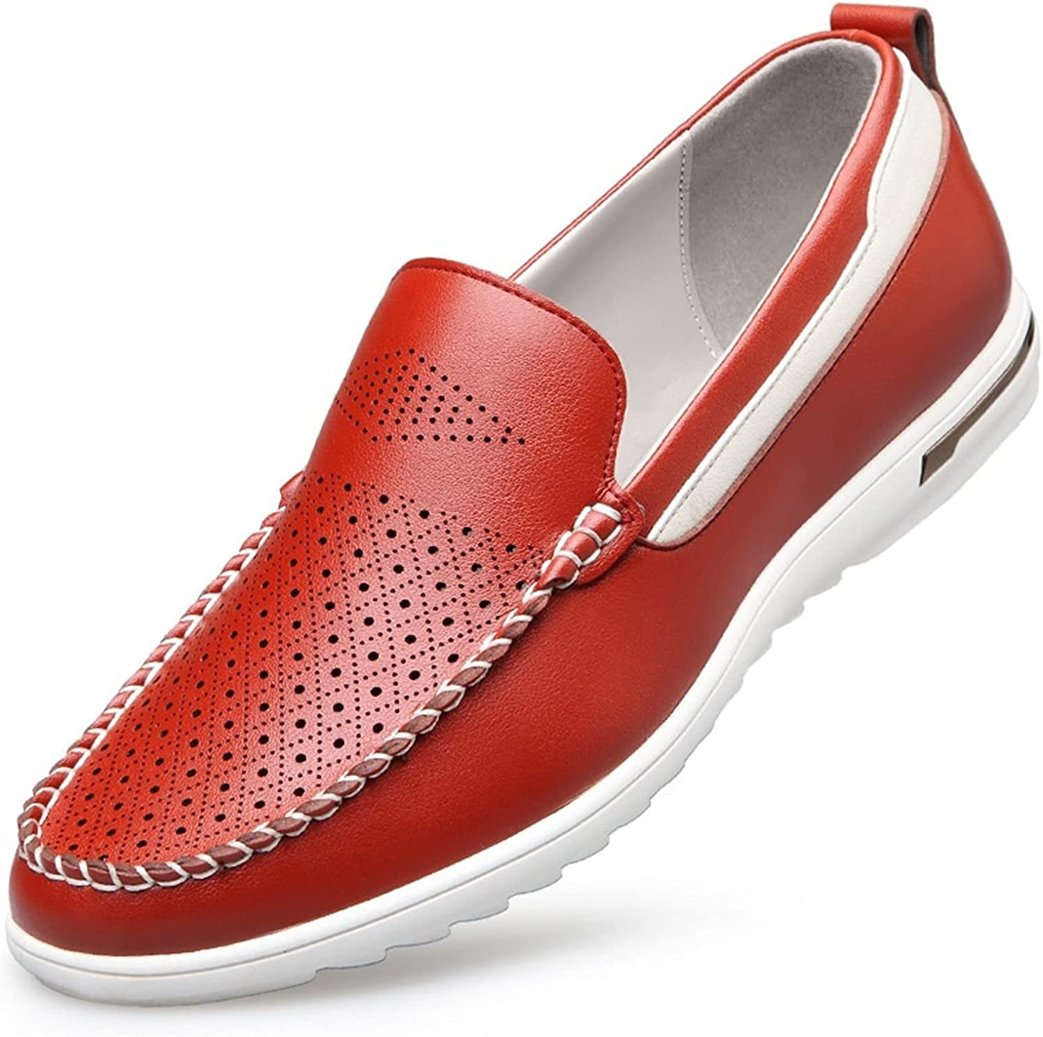 Battle Men Men's Casual Loafer Vegan Leather Slip on Moc Toe Perforated Shoes Anti Skid Pull Tap Lightweight Arch Supports Loafers Casual