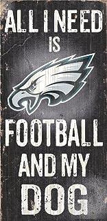 Hall of Fame Memorabilia Philadelphia Eagles Wood Sign - Football and Dog 6``x12``