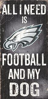 Philadelphia Eagles Wood Sign - Football And Dog 6''x12''