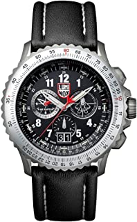 9241 Men's Air F-22 Raptor 9240 Black Dial Black Leather Strap Chrono Dive Watch