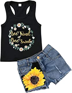 ZTICRTIO 2Pcs/Set Toddler Kids Baby Girl Sleeveless T-Shirt Top+Sunflower Denim Jeans Shorts Outfits