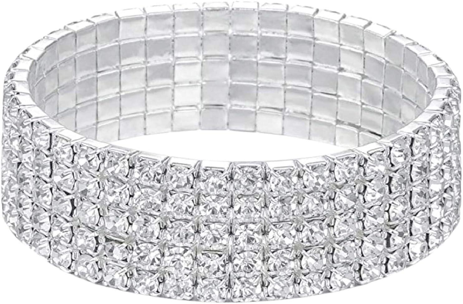 Harlorki Women Lady's 5 Rows Shiny Rhinestone Elastic Stretch Bracelet Sparkling Bridal Bangle Wrist Band