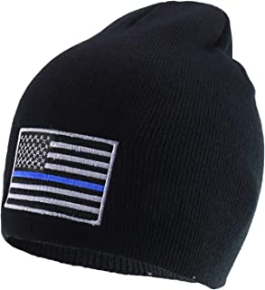 Rapid Dominance Thin Blue Line Embroidered US American Flag Skull Short Beanie Hat