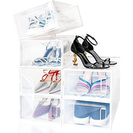 amzdeal Boîte à Chaussures, Lot de 6 Boîte de Rangement pour Chaussures en Platique Transparent avec Évents et Poignée, 33×23×14cm par Casier, pour Chaussures en Cuir, Talons Hauts, Baskets