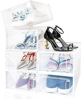 amzdeal Boîte à Chaussures, Lot de 6 Boîte de Rangement pour Chaussures en Platique Transparent avec Évents et Poignée, 33...