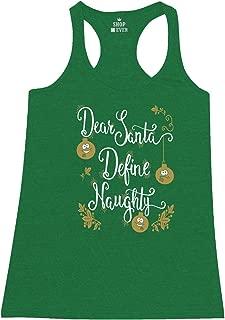 Dear Santa Define Naughty Women's Racerback Tank Top Ugly Christmas Tank Tops