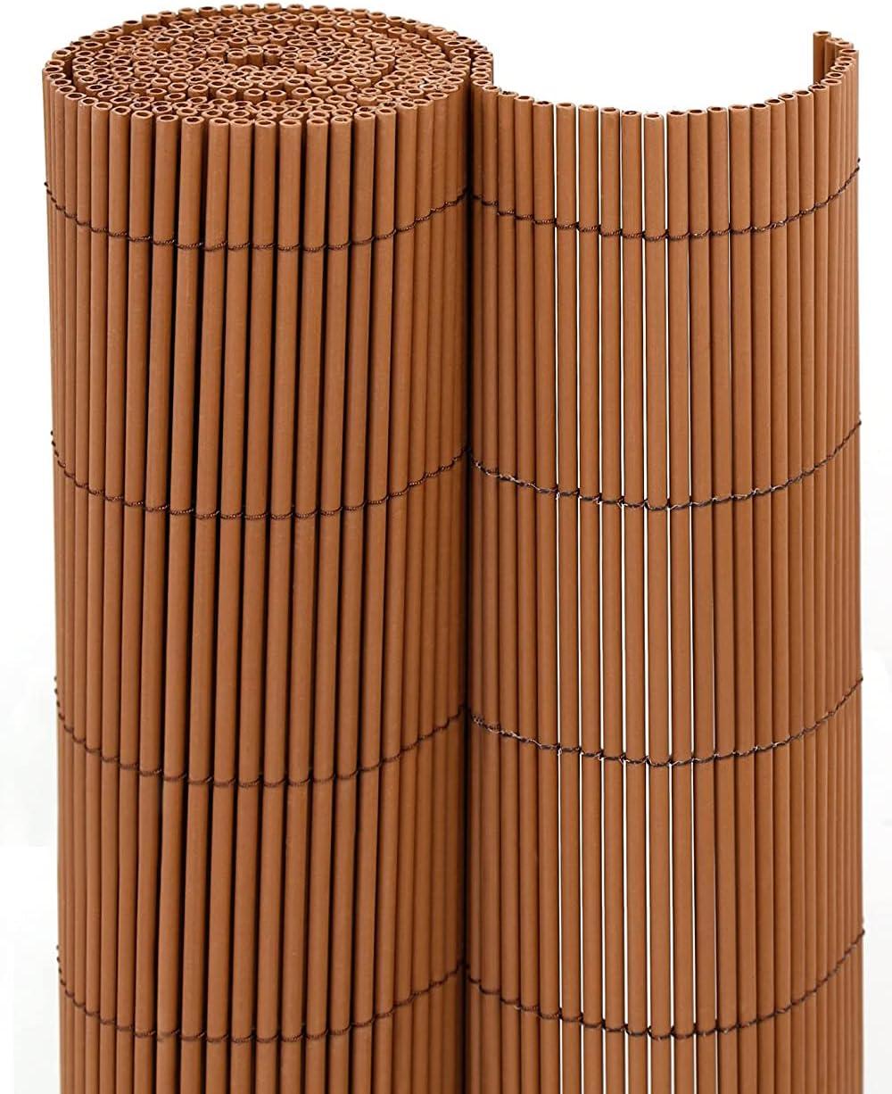 jarolift Estera para Jardín y Balcón Eco Wicker Resistente a la Intemperie, Revestimiento para Terrazas, Plástico, 90 x 300cm, Color Marrón (Óptica Sauce)