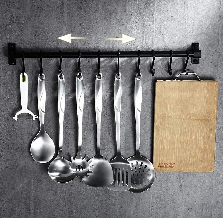 Aluminum Alloy Kitchen Pan Rack, Wall Mounted Metal Hanging Rack Kitchen Storage Organiser with Hooks, Black (Size   60cm)
