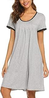 Women's Nightgown Short Sleeve Sleepwear Comfy Sleep Shirt Pleated Scoopneck Nightshirt S-XXL