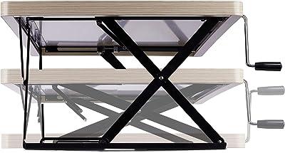 Relaxdays Poste de Travail Debout Assise Station Bureau XXL Hauteur réglable Manuel Ergonomique 120x60 cm, Blanc, Weiß, Taille