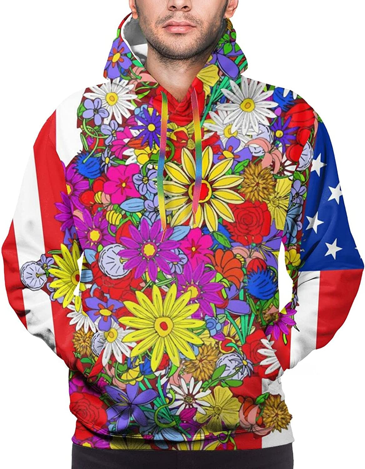 Hoodie For Men Women Unisex Floral Usa Map American Flag Hoodies Outdoor Sports Sweater