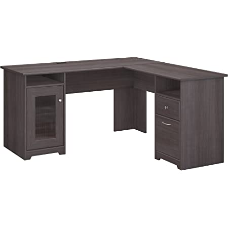 Bush Furniture Cabot L Shaped Computer Desk, Heather Gray