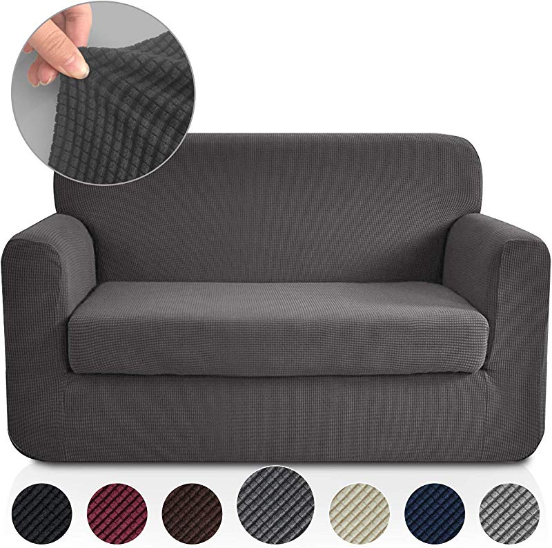 RHF 2 Separate Pieces Loveseat Cover Slipcovers For Couches And Loveseats With Separate Cushion Cover Jacquard High Stretch Loveseat Slipcover Loveseat Dark Grey