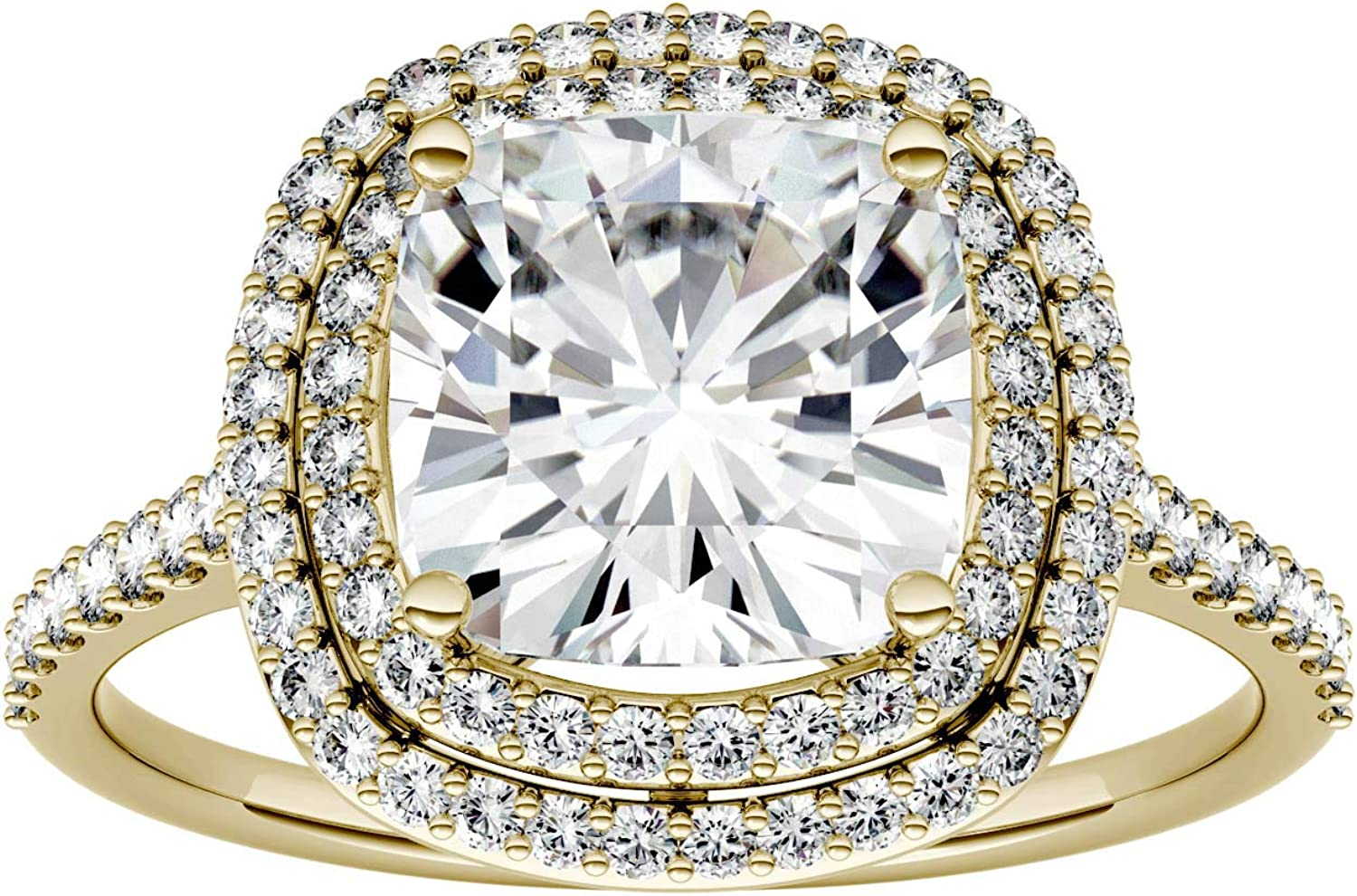Gold Moissanite Opening large release [Alternative dealer] sale by Charles Colvard Engageme 8.0mm Halo Cushion