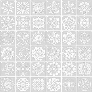 Changrongsheng 36 Pcs Pochoir Peinture Plastique Mandala Peinture Modèle pour Journal Réutilisables Motif Mandala Découpe ...