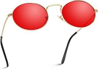 Small Oval Metal Frame Tinted Lens Sunglasses