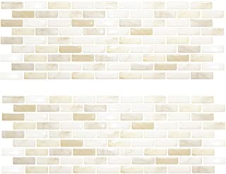 Beaustile White Brick Mosaic 3D Wall Sticker Home Decor Fire Retardant Backsplash Wallpaper Bathroom Kitchen DIY
