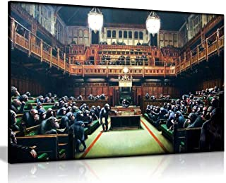 Banksy Monkey Parliament Canvas Wall Art Picture Print,for Home Modern Gallery Decoration Print, 12 x 8 Inch