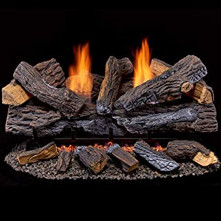 Duluth Forge Ventless Natural Set-30 Manual Control Gas logs, 30 Inch, Stacked Red Oak