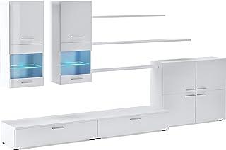 SelectionHome - Mueble Comedor Moderno salón con Luces Leds Acabado en Blanco Brillo Lacado y Blanco Mate Medidas: 300 ...
