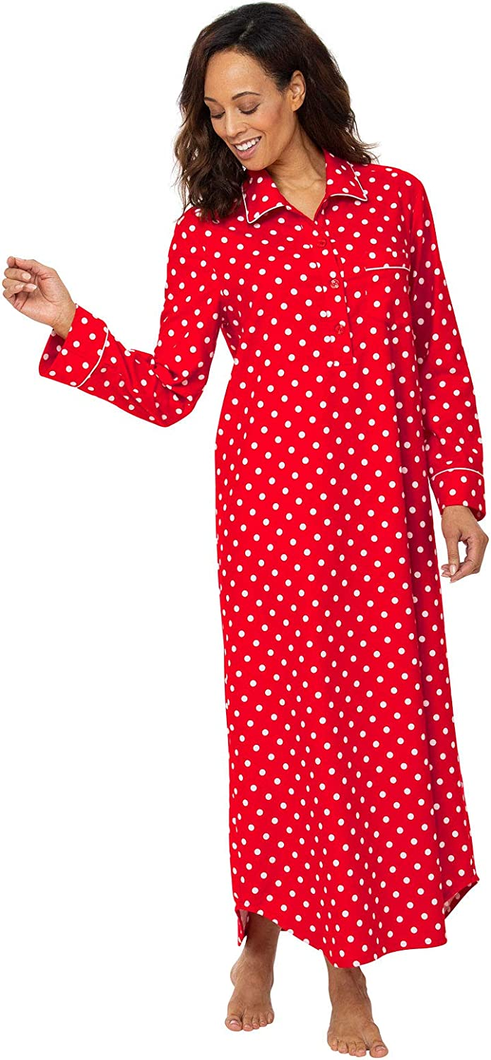 PajamaGram Womens Cotton Flannel Nightgown Long Flannel Nightgowns for Women