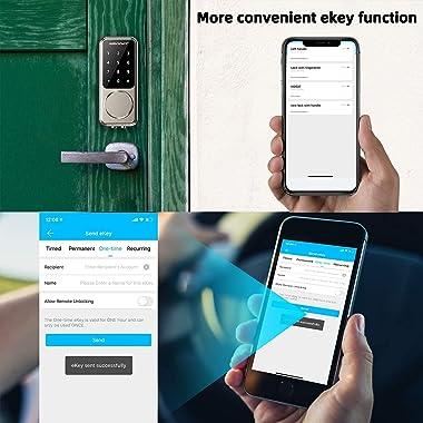 Smart Lock,SMONET Keyless Entry Door Lock,Remote Lock Unlock for Home Security,Easy Installation,Voice Control,Touchscreen Ke