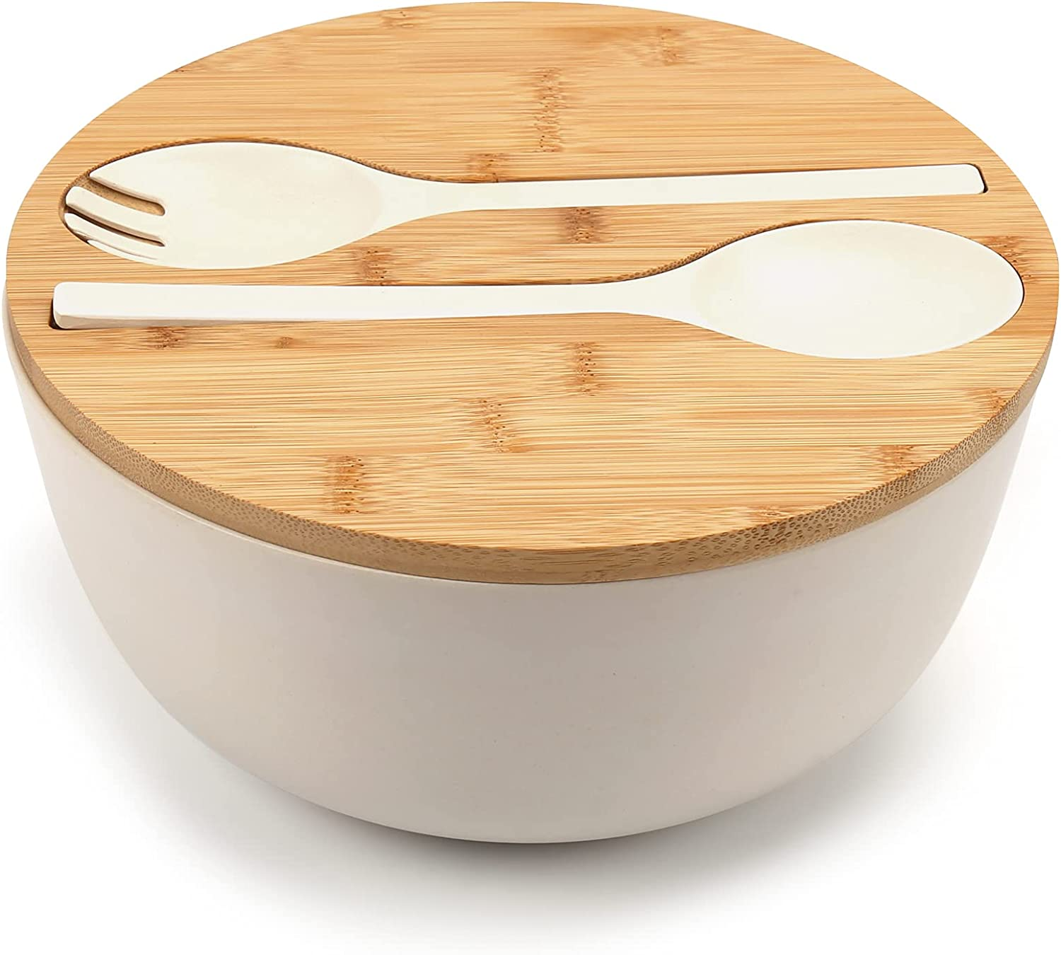 Save money Large Salad Bowl with Weekly update Lid Fiber Serving Bamboo Set w
