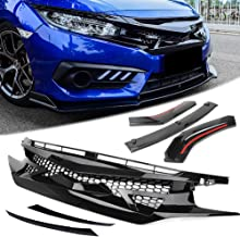 HCDSWSN Auto Car Mesh Front Hood Grille + Lip Bumper Cover Lip, para Honda Civic 2016 2017 2018 Todos los Modelos Negro Brillante