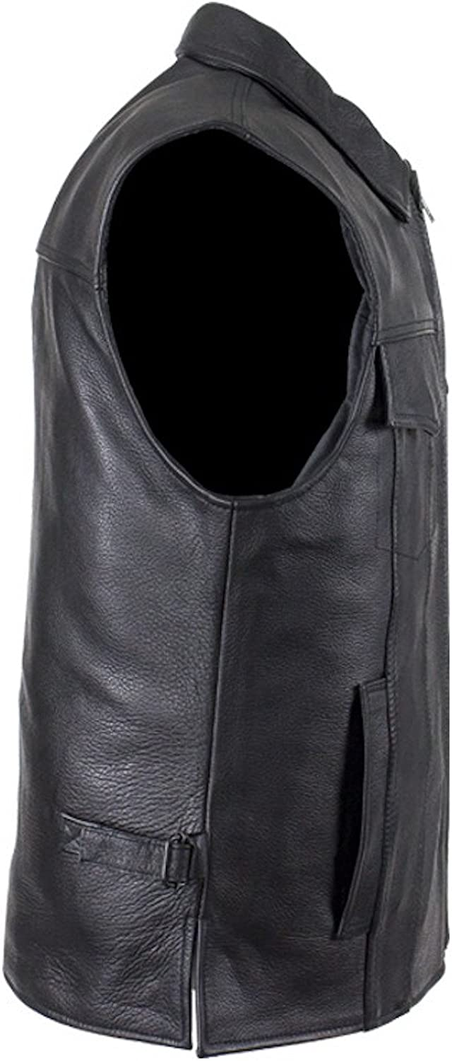 Mens Motorcycle Club Leather Vest with Fold Collar Hidden Snaps