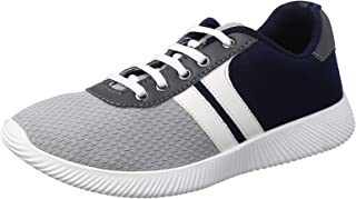 Salerno Textile Leather-accent Side Panels Lace-Up Contrasting Fashion Sneakers For Men