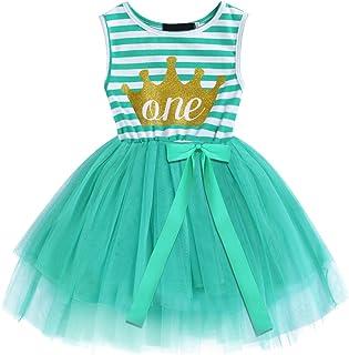 FYMNSI Newborn Baby Girls 1st/2nd/3rd Birthday Cake Smash Dress Princess Printed Sleeveless Tulle Spliced Tutu Dress
