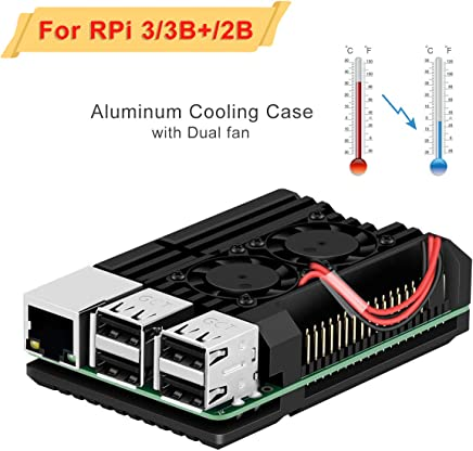 Jun-Electron for Raspberry Pi 3/Pi 3 B+ Case, Dual Cooling Fan, Enclosure Aluminum Alloy Case with Heat-Sink Pillar (Dual Fan Case)