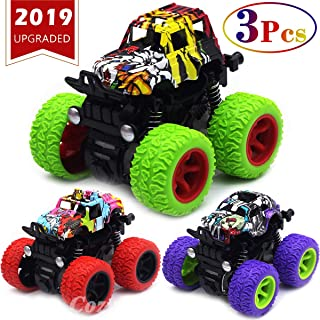 CozyBomB Friction Powered Monster Trucks Toys for Boys - Push and Go Car Vehicles Truck Jam Playset, Inertia Vehicle, Kids Birthday Christmas Party Supplies Gift 3 Years Old (Purple, Red, Green)