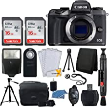 Canon EOS M5 Mirrorless Digital Camera (Body Only) + SanDisk 32GB Card + Slave Flash + Quality Tripod + Camera Bag + USB Card Reader + Wireless Remote + 3 Piece Cleaning Kit + Ultimate Accessory Kit