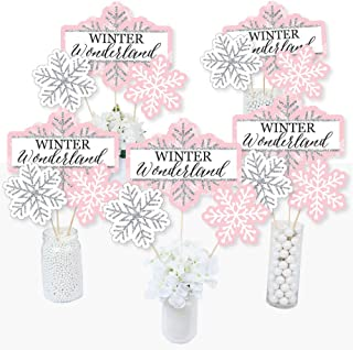 Big Dot of Happiness Pink Winter Wonderland - Holiday Snowflake Birthday Party or Baby Shower Centerpiece Sticks - Table Toppers - Set of 15