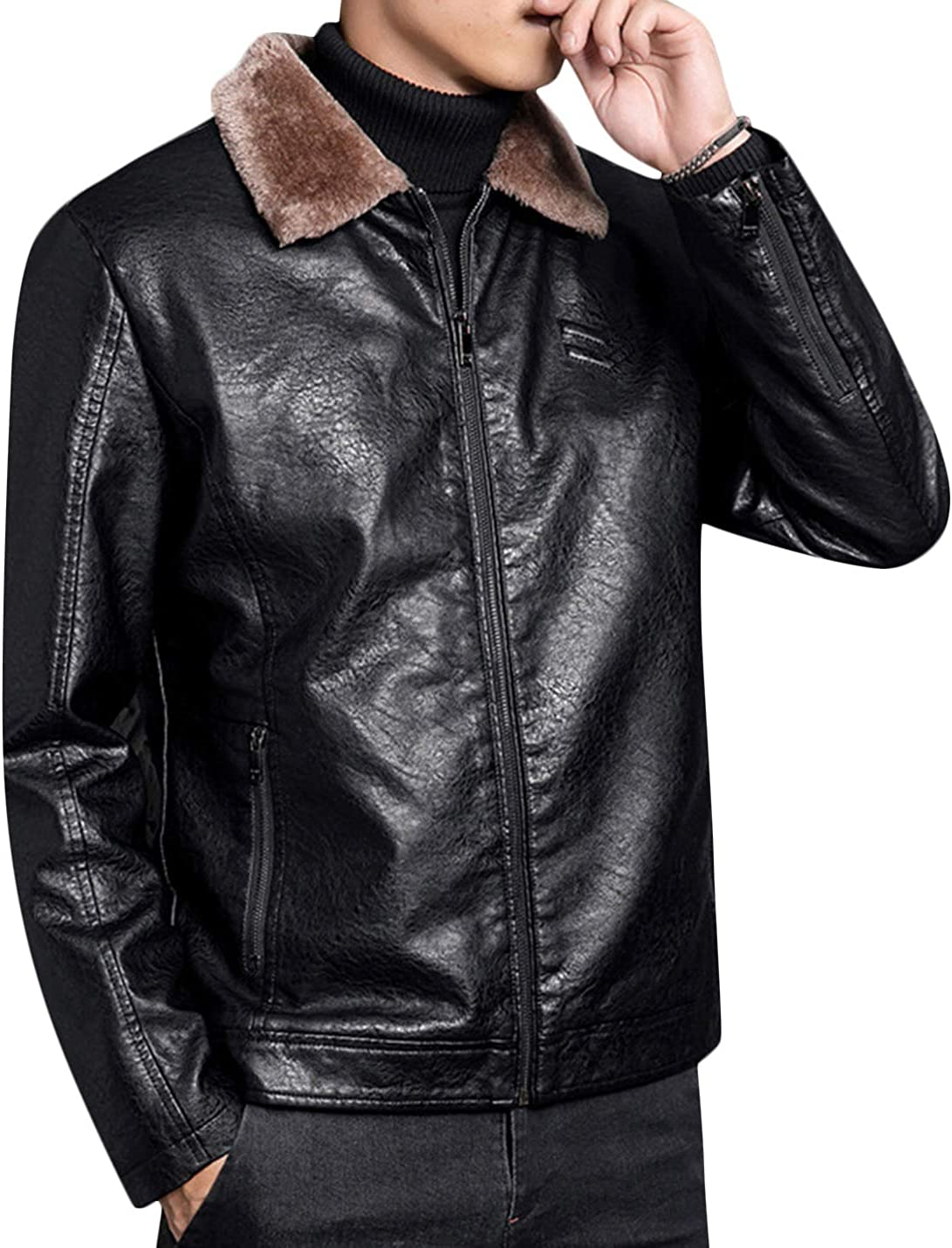 UANEO Men's Winter Warm Lapel Full Zip PU Leather Sherpa Lined Bomber Jacket Coat (Black, X-Small)
