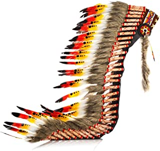 Pink Pineapple Handcrafted Native American Inspired Long Feather Headdress, Black Red and Orange