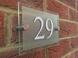 DYHM número de calle Números para casas Personalizar CASA MODERNA SIGNO PLACA NÚMERO DE PUERTA CALLE EFECTO VIDRIO NOMBRE ACRÍLICO (Color : 2, Height : 140mm-200mm)