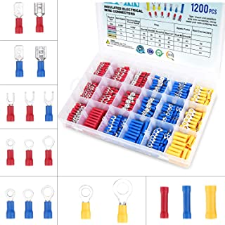 TICONN 1200 Pcs Electrical Insulated Wire Connectors Kit - Spade, Ring, Butt, Quick Disconnect, Forks Connector - Crimp Ca...