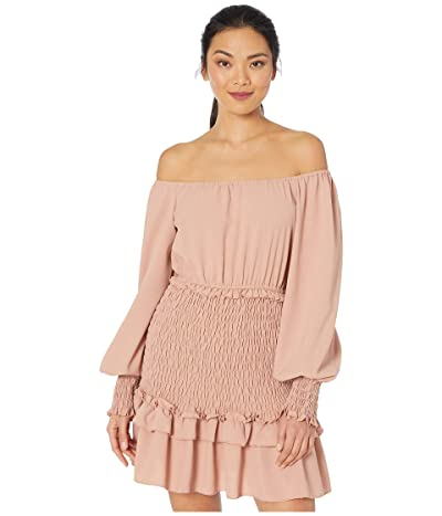 American Rose Halle Off-the-Shoulder Smocked Ruffle Dress (Blush) Women