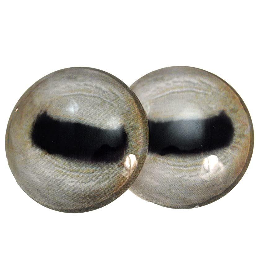40mm Glass Goat Eyes Pale Animal Pair Realistic Taxidermy Sculptures or Jewelry Making Crafts Set of 2