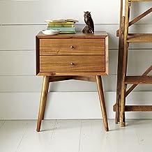 DriftingWood Sheesham Wood Bed Side Table for Living Room | Bedside Table for Bedroom | 2 Drawer Side Table | Natural Brown
