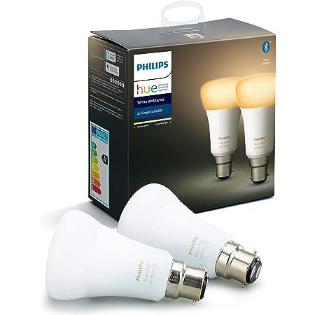 Philips Hue Pack de 2 Bombillas Inteligentes LED B22, con Bluetooth, Luz Blanca de Cálida a Fría, Posibilidad de Control por Voz