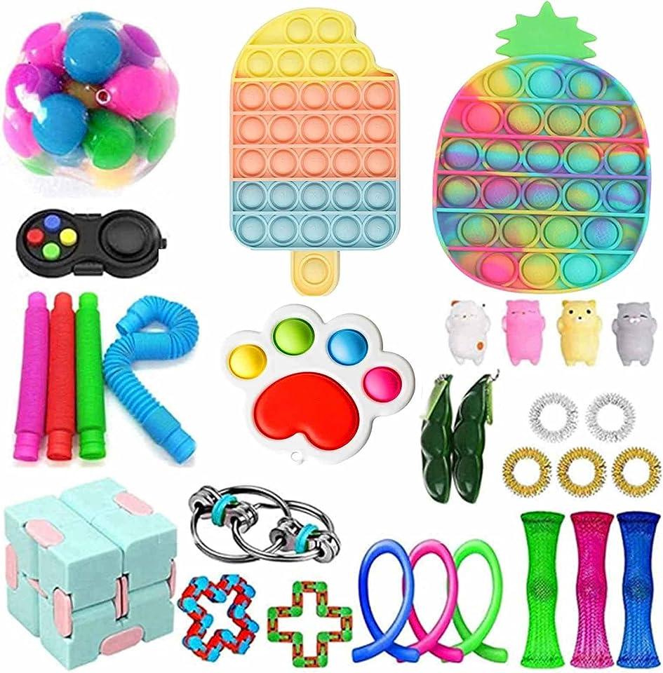 Uniguardian Sensory Fidget Spielzeug Set, Push Bubble Pop Fidget Toys, Stress Spielzeug Autismus Special Need Fidget Toy Set, Squeeze Toy für Kinder Erwachsene