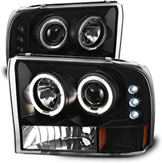For Ford F-Series SuperDuty 00-04 Excursion Black Bezel Dual Halo Projector Headlights Replacement Pair