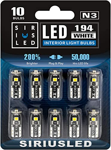 SIRIUSLED 194 LED Bulbs Extremely Super Bright 3030 Chipset for Car truck Interior Dome Map Door Courtesy Marker Lice...