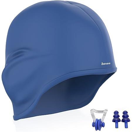 Earwaves ® H2O - Cuffia Nuoto ergonomico in Silicone con Protezione per Le Orecchie. Cuffia Piscina per Uomo e Donna. Ideale per Capelli Lunghi. Tappi Orecchie e Clip Naso Inclusi.