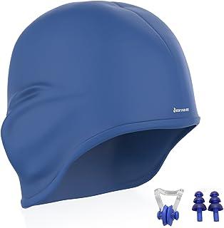 Earwaves ® H2O - Gorro de natación ergonómico con cavidad para Orejas. Gorro de Piscina para Hombre y Mujer Hecho de Silicona Ideal para Pelo Largo y Corto. Incluye Tapones y Clip Nasal