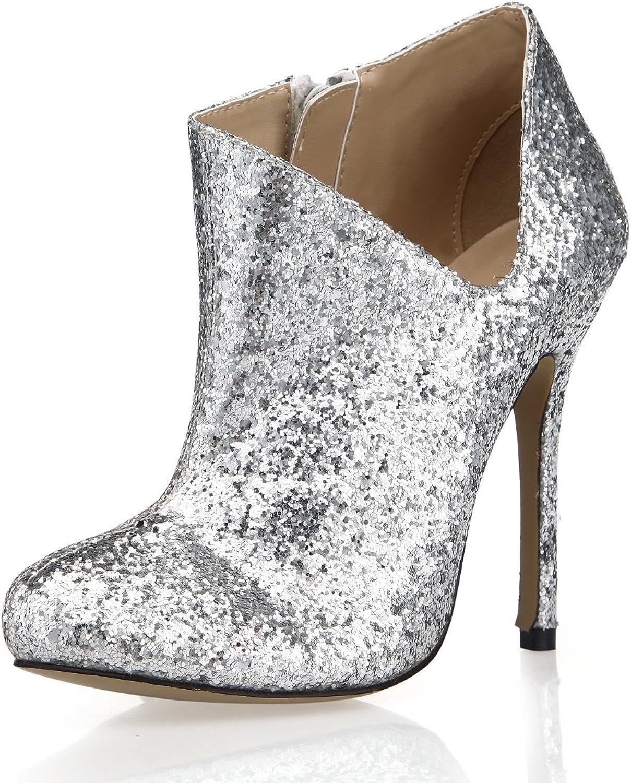 Best 4U Damenschuhe Kurze Stiefel Herbst Winter Pailletten 12 cm High Heels Stiefel Rund